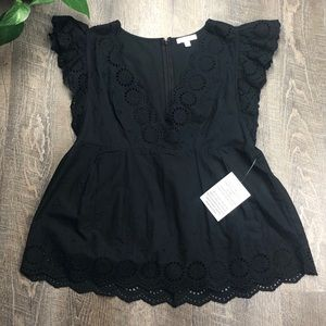 NWT Stella & Dot Peyton Tee Black Lace Small